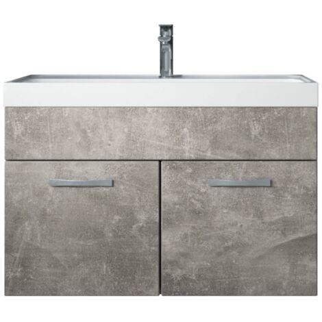 Meuble de salle de bain Paso 01 80x40cm lavabo Beton (gris) – Armoire de rangement miroir