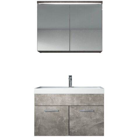 Meuble de salle de bain Paso 02 80x40cm lavabo Beton (gris) – Armoire de rangement miroir armoire miroir