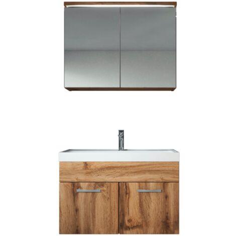 Meuble de salle de bain Paso 02 80x40cm lavabo Wotan (Marron) – Armoire de rangement miroir armoire miroir