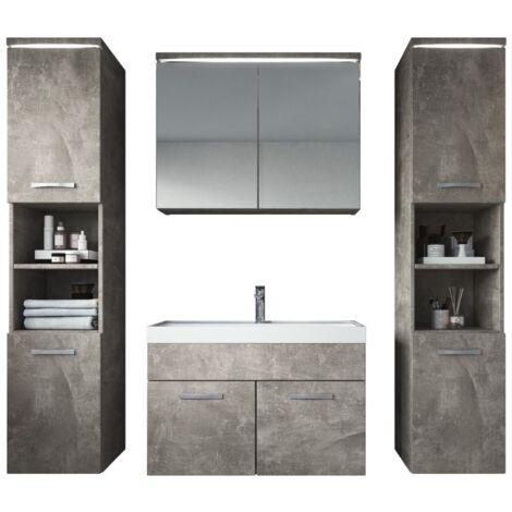 Meuble de salle de bain Paso xl – Armoire de rangement Meuble lavabo evier Meuble lavabo Beton (gris) 80x40 cm