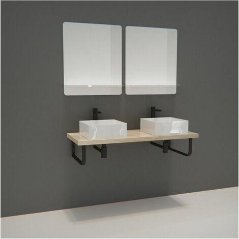 Meuble de Salle de Bain - Plan suspendu 120 cm + 2 Vasques + 2 Miroirs + Equerres porte serviettes - WILL - Décor chêne