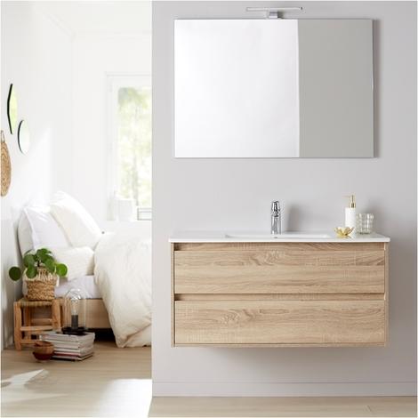 Meuble de salle de bain + plan vasque 100 + miroir Siris chêne cambrian