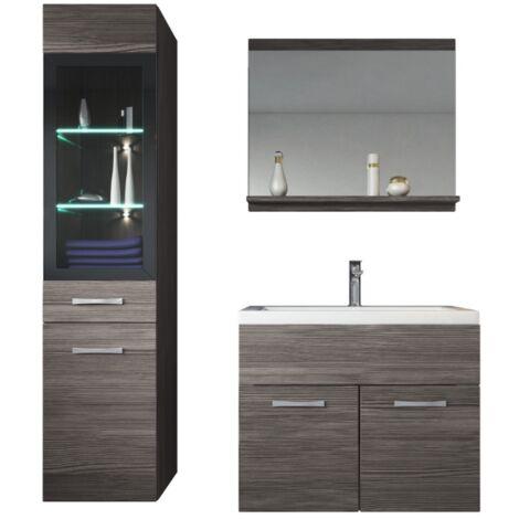 Meuble de salle de bain Rio LED 60 cm lavabo Bodega (gris) - Armoire de rangement Meuble lavabo