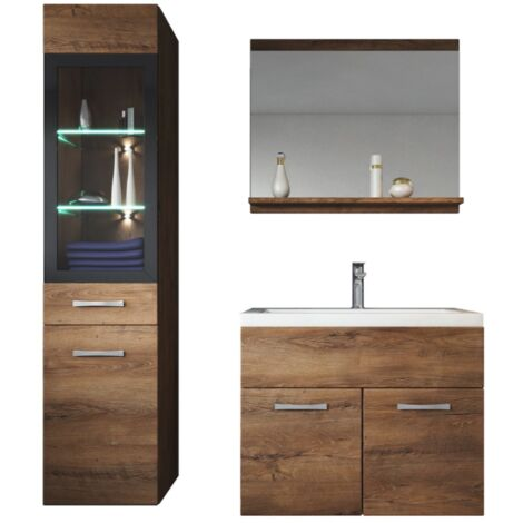 Meuble de salle de bain Rio LED 60 cm lavabo Lefkas (marron) - Armoire de rangement Meuble lavabo