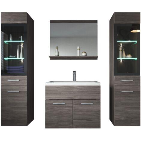 Meuble de salle de bain Rio xl LED 60 cm lavabo Bodega (gris) - Armoire de rangement Meuble lavabo