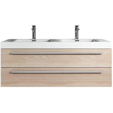 Meuble de salle de bain Rome 120cm lavabo Chene gris – Armoire de rangement Meuble lavabo