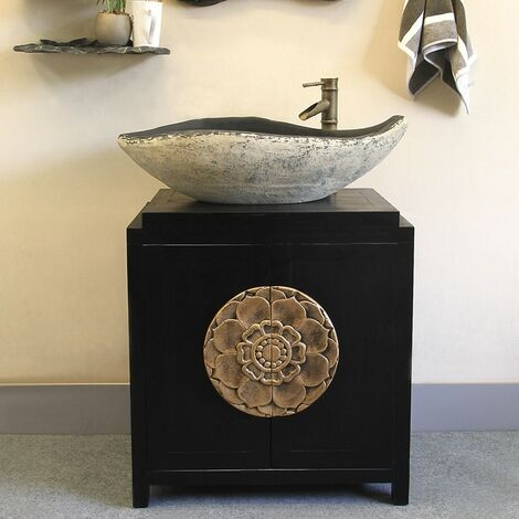 Meuble de salle de bain rustique noir