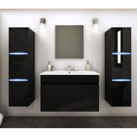 Meuble De Salle Bain Simple Vasque 80 Cm 2 Colonnes Avec LED Noir LAZIA