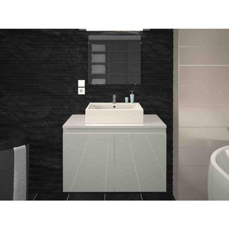 Meuble de salle de bain simple vasque 80 cm blanc laqué CLARA - L 80 x l 45.6 x H 51.6 - Blanc