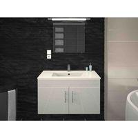 Meuble de salle de bain simple vasque 80 cm blanc laqué LEA - L 80 x l 45.6 x H 51.6