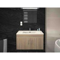 Meuble de salle de bain simple vasque 80 cm finition chêne LEA - L 80 x l 45.6 x H 51.6