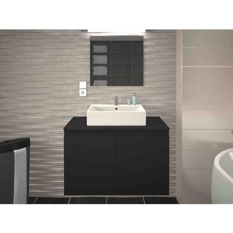 Meuble de salle de bain simple vasque 80 cm gris mat CLARA - L 80 x l 45.6 x H 51.6