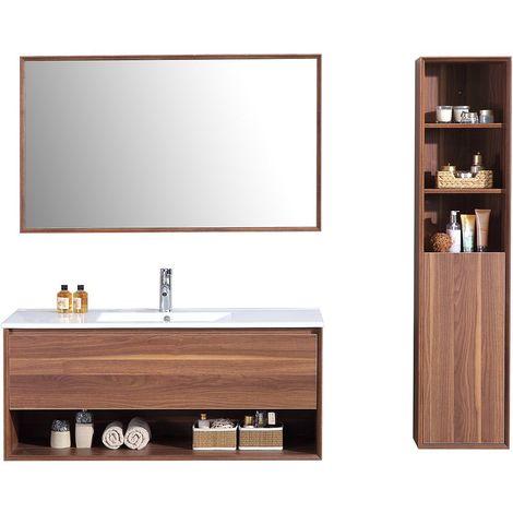 Meuble de salle de bain simple vasque 90cm colonne de rangement – Brun cendré