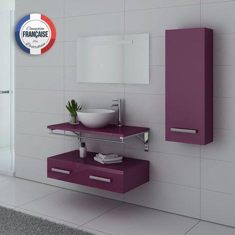 Meuble de salle de bain simple vasque Aubergine VIRTUOSE