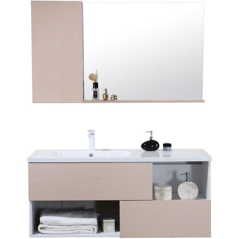 Meuble de salle de bain simple vasque avec miroir etagere – Bois Clair 120  CM