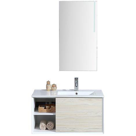 Meuble de salle de bain simple vasque avec miroir LED