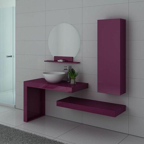 Meuble de salle de bain simple vasque Monza Aubergine
