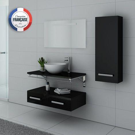 Meuble de salle de bain simple vasque Noir VIRTUOSE