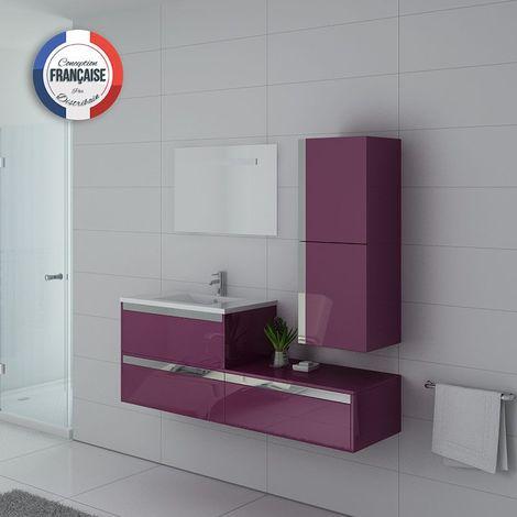 Meuble de salle de bain simple vasque SUBLISSIMO Aubergine