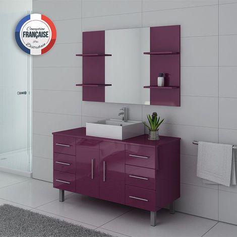 Meuble de salle de bain simple vasque sur pieds TURIN Aubergine