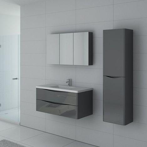 Meuble de salle de bain simple vasque TREVISE 1000 Gris Taupe