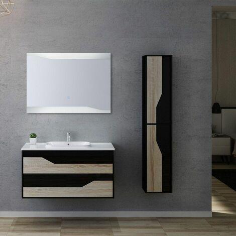 Meuble de salle de bain simple vasque URBINO 1000 Scandinave et Noir