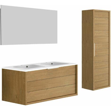 Meuble de salle de bain SORENTO couleur chêne clair 120cm + plan double vasque STYLE + miroir et colonne