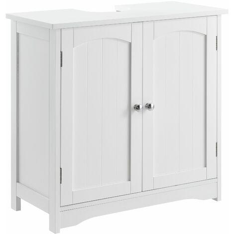 Meuble de salle de bain sous lavabo sous vasque MDF laqué blanc - Blanc