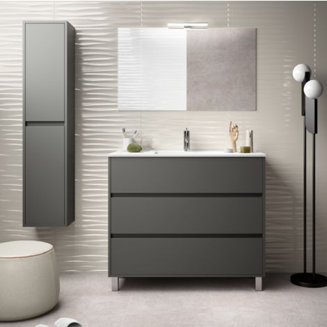 Meuble de salle de bain sur le sol 100 cm gris opaque avec - Meuble salle de bain avec lavabo ...