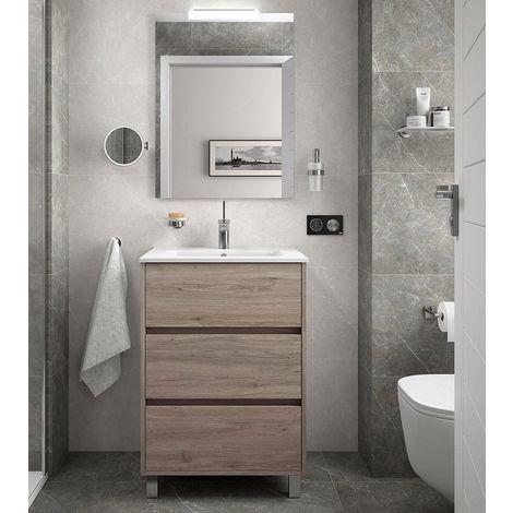 Meuble de salle de bain sur le sol 60 cm Chêne eternity avec lavabo en porcelaine