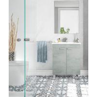 Meuble de salle de bain sur le sol 60 cm Ciment avec miroir