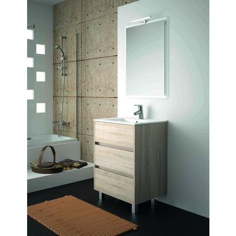 Meuble de salle de bain sur le sol 600 mm marron Caledonia avec lavabo à  encastrer collection Arenys