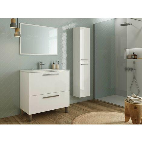 Meuble de salle de bain sur le sol 80 cm Blanc Brillant avec miroir | Blanc brillant - Avec double colonne et lampe LED