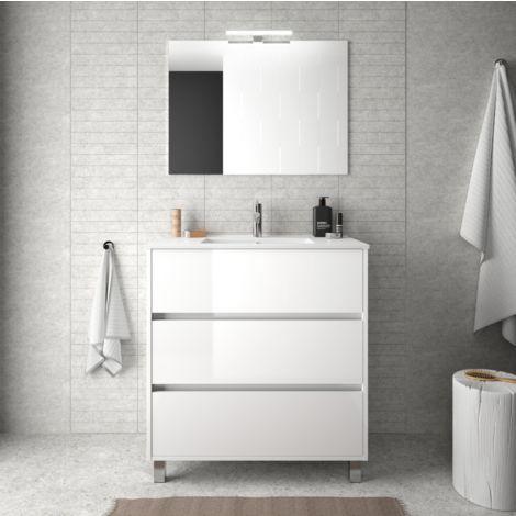 Meuble de salle de bain sur le sol 80 cm Blanc laque avec lavabo en porcelaine