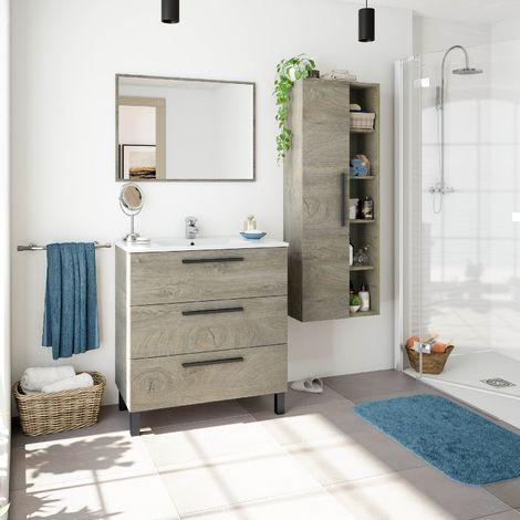 Meuble de salle de bain sur le sol 80 cm Chêne avec 3 tiroirs et miroir
