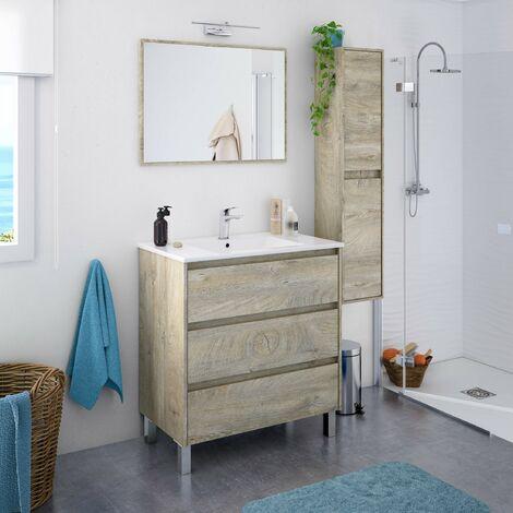 Meuble de salle de bain sur le sol 80 cm chêne avec miroir et lavabo