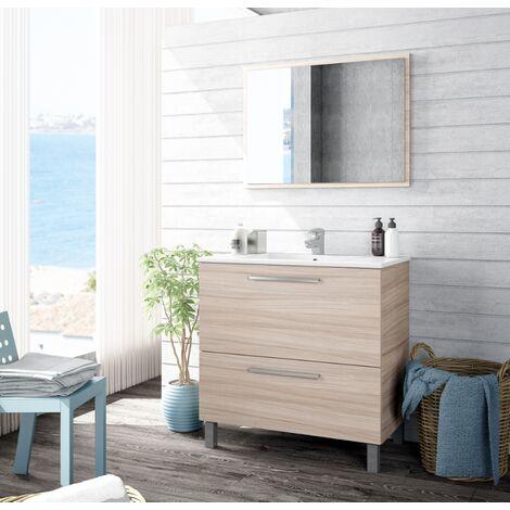 Meuble de salle de bain sur le sol 80 cm couleur naturelle avec miroir