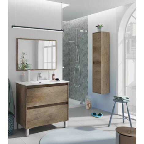 Meuble de salle de bain sur le sol 80 cm couleur Nordik avec miroir