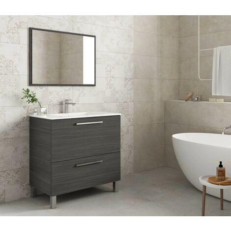 Meuble de salle de bain sur le sol 80 cm Gris cendré avec miroir
