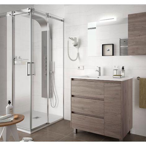 Meuble de salle de bain sur le sol 85 cm Chêne eternity avec lavabo en porcelaine