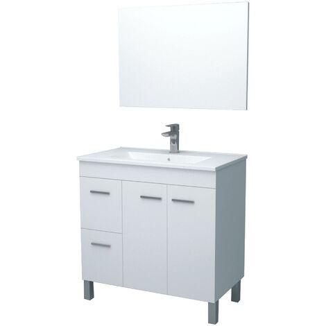 Meuble de salle de bain sur le sol Aktivia 80 cm Blanc Brillant avec miroir
