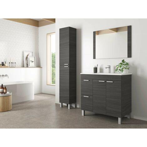Meuble de salle de bain sur le sol Aktivia 80 cm gris cendré avec miroir