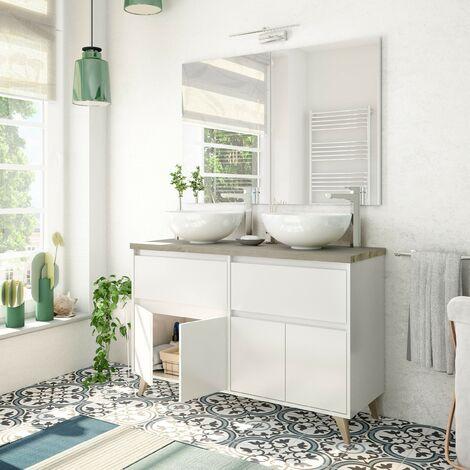 Meuble de salle de bain sur pied 120 cm blanc brillant et chêne avec double Lavabo ronde à poser