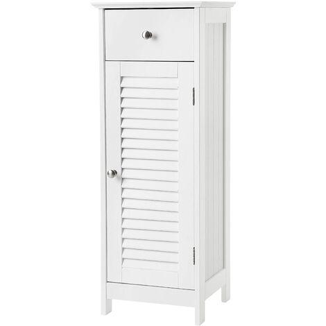 Meuble de salle de bain sur pied rangement armoire d'angle 1 tiroir blanc - Blanc
