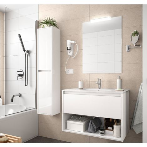 Meuble de salle de bain suspendu 100 cm Blanc brillant avec un tiroir et un espace