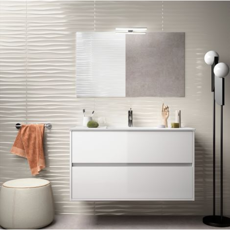 Meuble de salle de bain suspendu 100 cm blanc laque avec lavabo en porcelaine