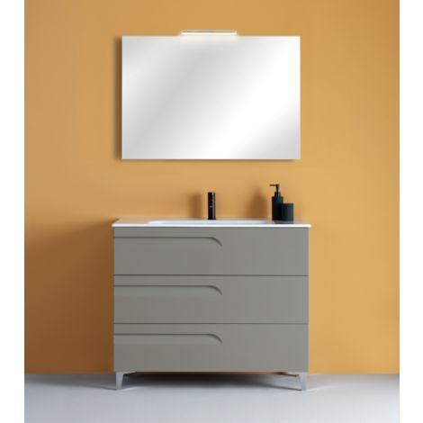 Meuble de salle de bain suspendu 100 cm Fumé mat avec lavabo en céramique