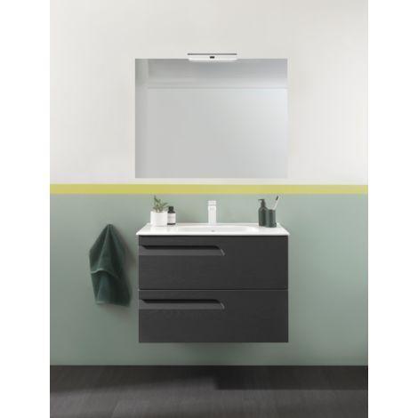 Meuble de salle de bain suspendu 100 cm Gris Nature avec ...