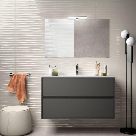 Meuble de salle de bain suspendu 100 cm gris opaque avec lavabo en porcelaine