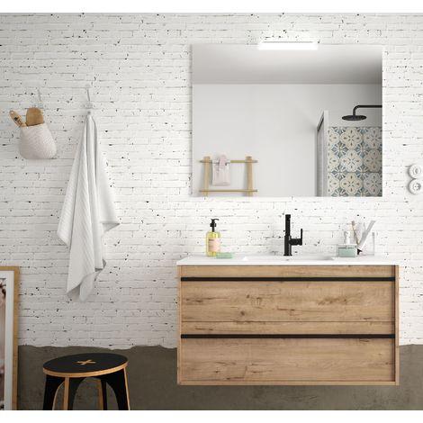 Meuble de salle de bain suspendu 100 cm Nevada en bois couleur chêne claire avec lavabo en porcelaine